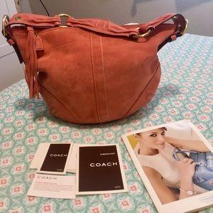 Coach coral suede bag